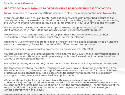 UPDATED 20th March 2020 – CARA ORTHODONTICS RESPONSE PROCESS TO COVID-19